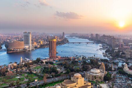 Cairo downtown panorama, sunset view in Egypt. Standard-Bild