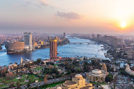 Cairo downtown panorama, sunset view in Egypt.
