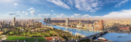 Cairo aerial panorama, the Nile and the downtown buildings, Egypt.