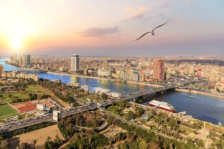 Cairo and the Nile view, sunset photo, Egypt