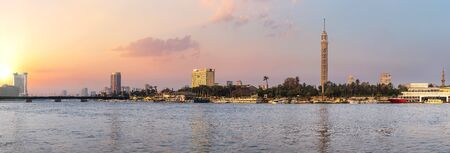Cairo Tower and the Nile, sunset over the capital of Egypt
