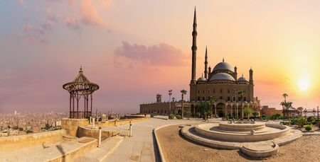 Cairo Citadel, the Great Mosque view, sunset panorama, Egypt.