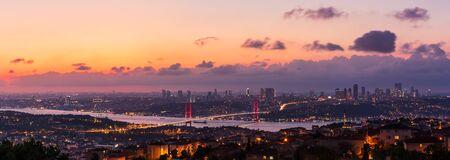 Bosporus Bridge in the skyline of Istanbul, sunset sky view, Turkey.