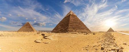 Great Pyramids of Egypt, beautiful desert panorama of Giza Stock Photo