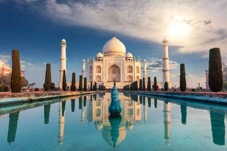 Taj Mahal Mausoleum in India, famous view