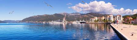 Porto Montenegro, famous marina in Tivat, beautiful panorama Imagens