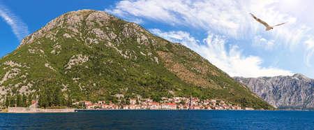 Perast old town distant view, beautiful Adriatic panorama, Montenegro