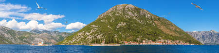 Perast old town, Church of Our Lady of the Rocks and the Island of Saint George panorama, Montenegro