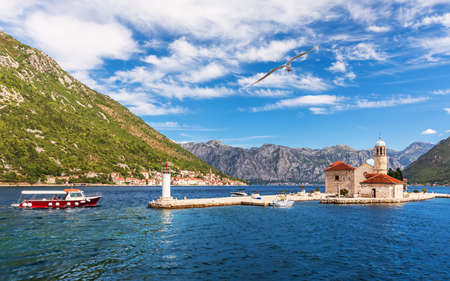 Church of Our Lady of the Rocks in the Adriatic sea, Bay of Kotor near Perast, Montenegro Imagens