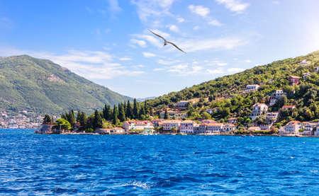 Seaside of the Adriatic sea in the Bay of Kotor, Montenegro Imagens