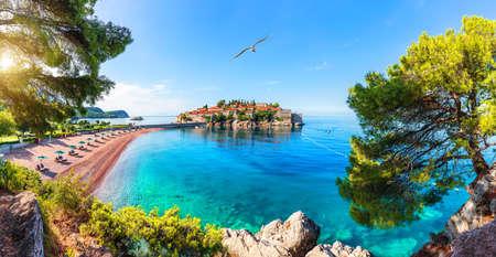 Sveti Stefan island, wonderful view from the rock, Budva riviera, Montenegro Imagens
