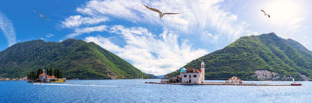 Our Lady of the Rocks and island of Saint George near Perast, Bay of Kotor, Montenegro panorama