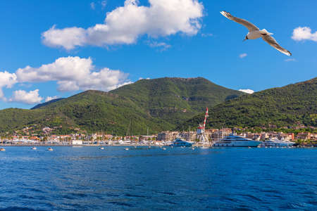 Yachts and the coast of the Adriatic sea, Kotor area, Montenegro Imagens
