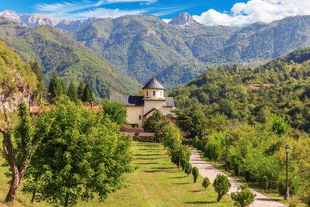 Beautiful medieval Moracha Monastery in Montenegro Imagens