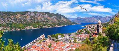 Pier of Kotor, wonderful summer panorama of Montenegro. Imagens