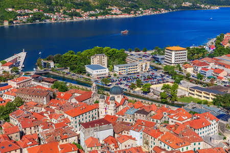 The Bay of Kotor and the Old town roofs, Montenegro.