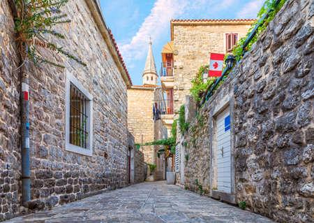 Famous narrow european streets of Budva, Montenegro. Imagens