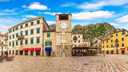 Kotor Old Town Clock Tower panorama, Montenegro.