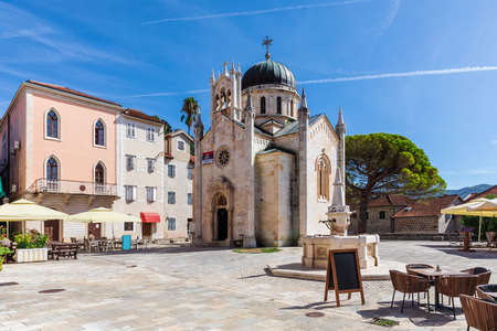 Church of St. Jerome and the square in Herceg Novi, Montenegro. Imagens