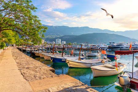 Budva marina with boats, beautiful harbor view, Montenegro.