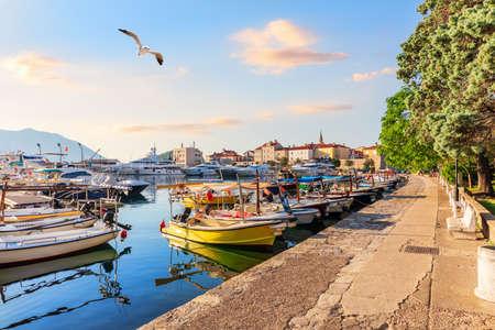 Budva riviera pier and the yachts, Montenegro.