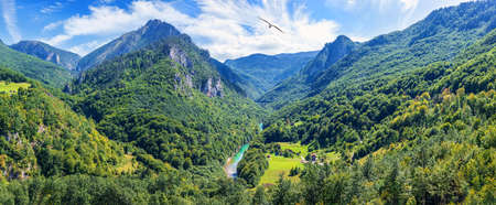 Moracha river in the valley of the mountains in Montenegro.