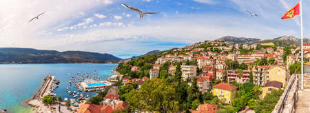 Herceg Novi coastline panorama, beautiful view of Montenegro.
