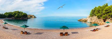 Beautiful panorama of the beach next to the Sveti Stefan island, Budva riviera, Montenegro.