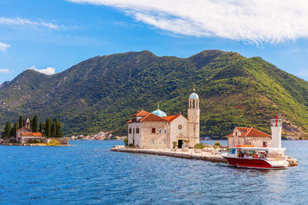 Church of Our Lady of the Rocks and Island of Saint George in the Adriatic sea, Bay of Kotor, Perast, Montenegro.