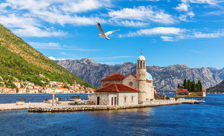 Church of Our Lady of the Rocks and Island of Saint George, Bay of Kotor near Perast, Montenegro.