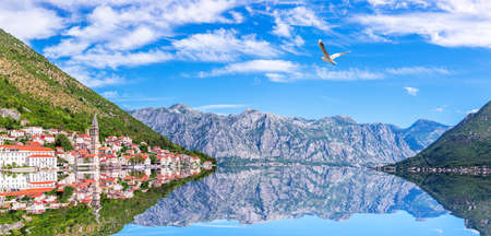 The Bay of Kotor, Perast old town distant view, Adriatic panorama, Montenegro.