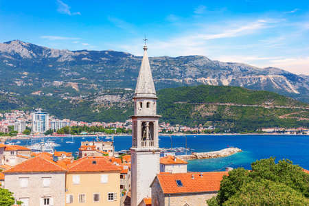 The tower of St John the Baptists Church, in the old town of Budva, Montenegro.