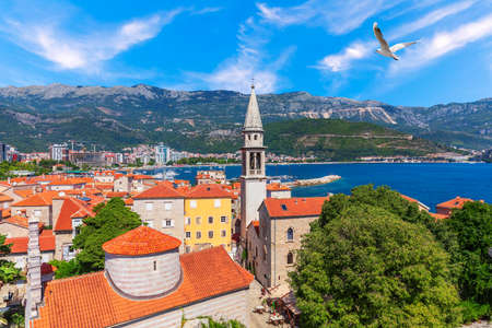 Budva old town aerial view, the tower of St John the Baptists Church, Montenegro. Imagens
