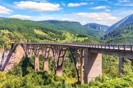 Durdevica Bridge over the Tara river, beautiful view in Montenegro. Imagens