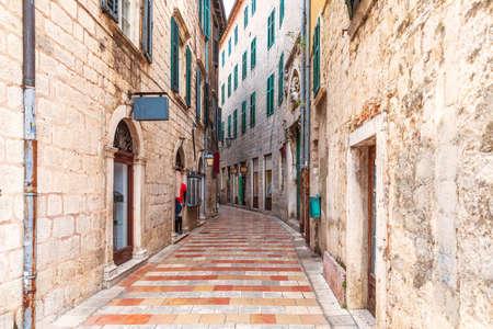 Narrow European street in the Old Town of Kotor, Montenegro.