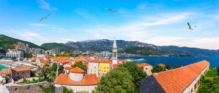 Budva aerial view panorama, the Old Town, Montenegro. Imagens
