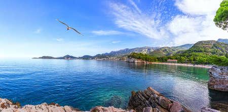 Wonderful view of the coast of Budva near the Sveti Stefan island, Montenegro