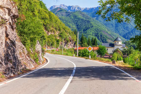 The road in the mountains near the Moracha Monastery, Montenegro