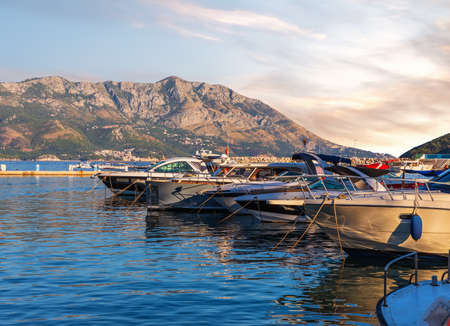 Yachts on the pier of Budva, Montenegro Imagens