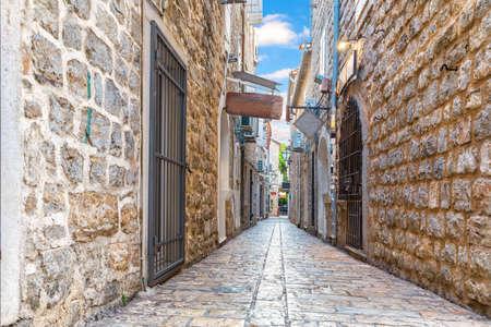 Budva old town Narrow European street, Montenegro Stockfoto