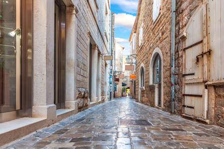 Narrow adriatic street in the Old Town Of Budva, Montenegro