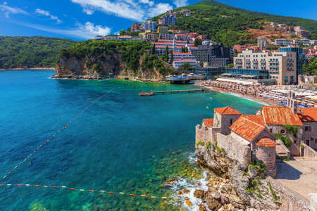 Buildings on the coast of Budva, view from the Citadel. Montenegro Imagens