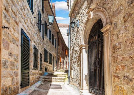 Medieval street in the Old Town of Herceg Novi, Montenegro, no people