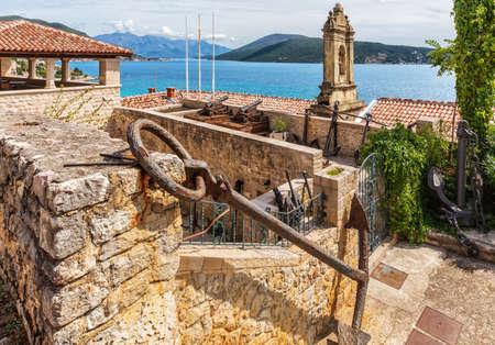 Herceg Novi coastline aerial view from the Old town, Montenegro Stockfoto