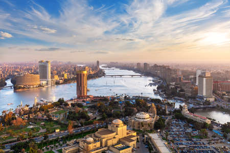 Downtown of Cairo and fabulous Skyscrappers on the Nile, aerial view, Egypt