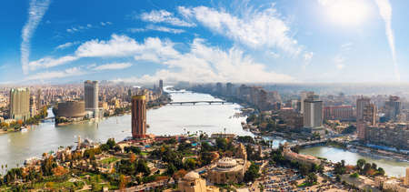 Cairo downtown panorama from the Tower, view on the Nile, Buildings and bridges, Egypt