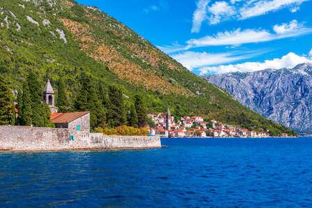 Islet of Saint George in the Bay of Kotor in the Adriatic sea, Montenegro.