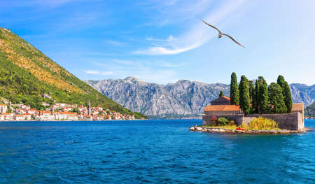 Perast old town and St. George island, view from the Bay of Kotor in Montenegro