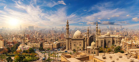 Mosque and Madrasa of Sultan Hassan at sunset, Cairo Citadel, Egypt.