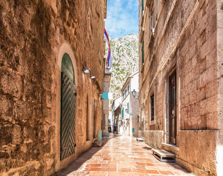 Traditional Adriatic street in the Old Town of Kotor, Montenegro.